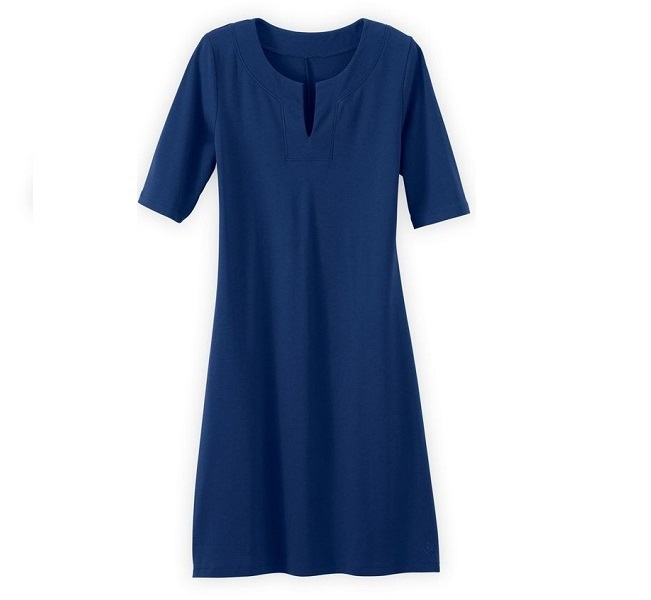 blue split neck travel dress