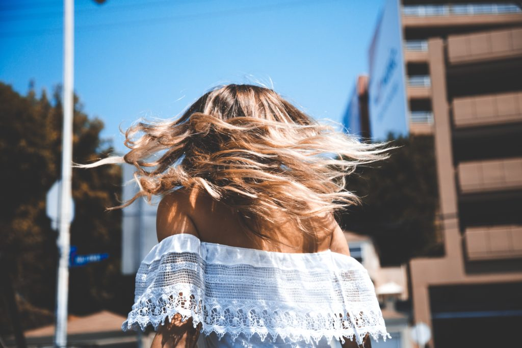 girl moving hair