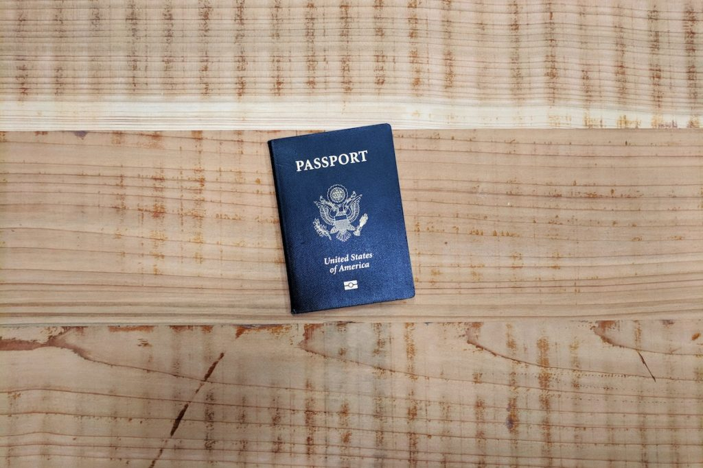 passport on table